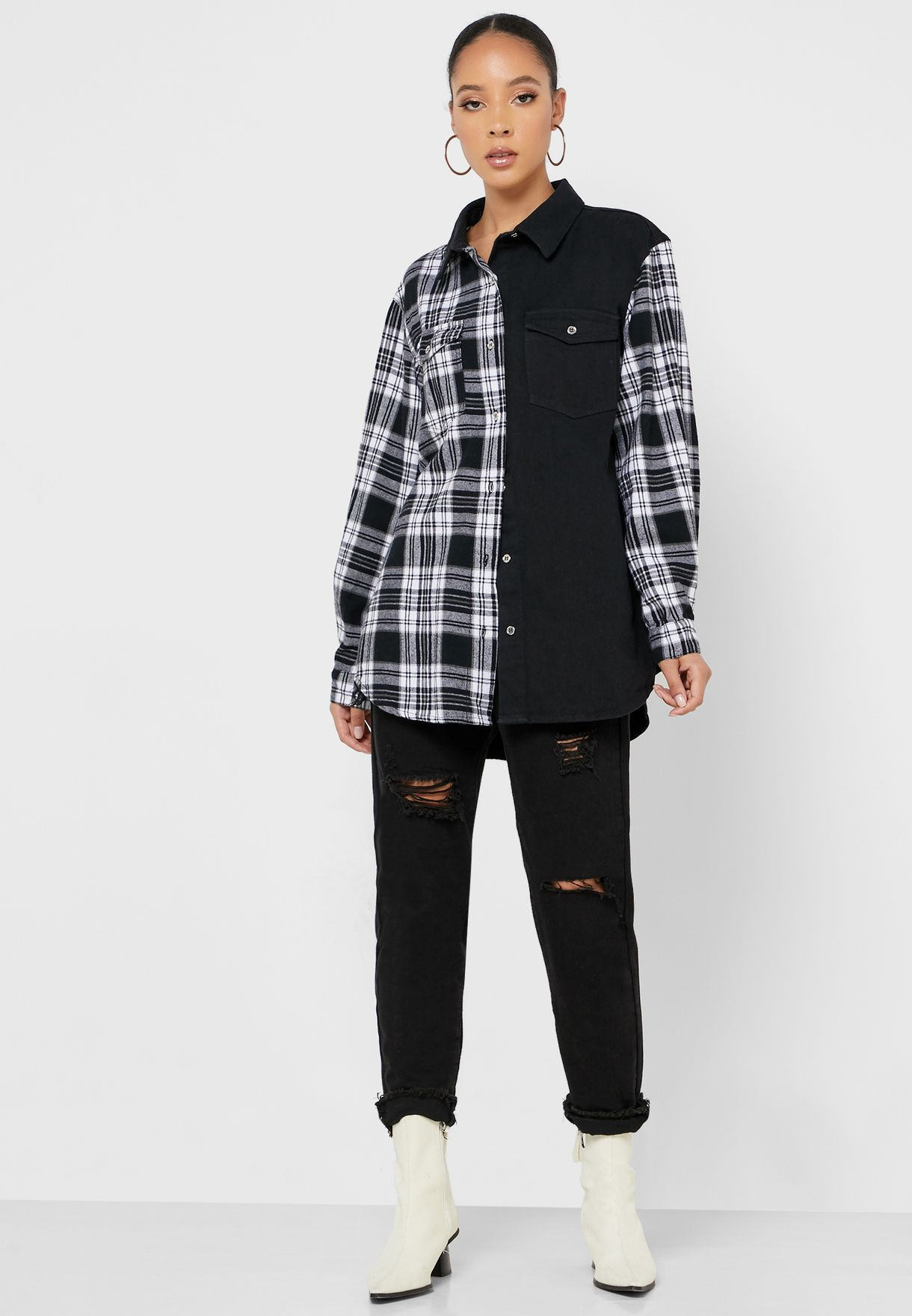 Oversized Denim Checked Shirt