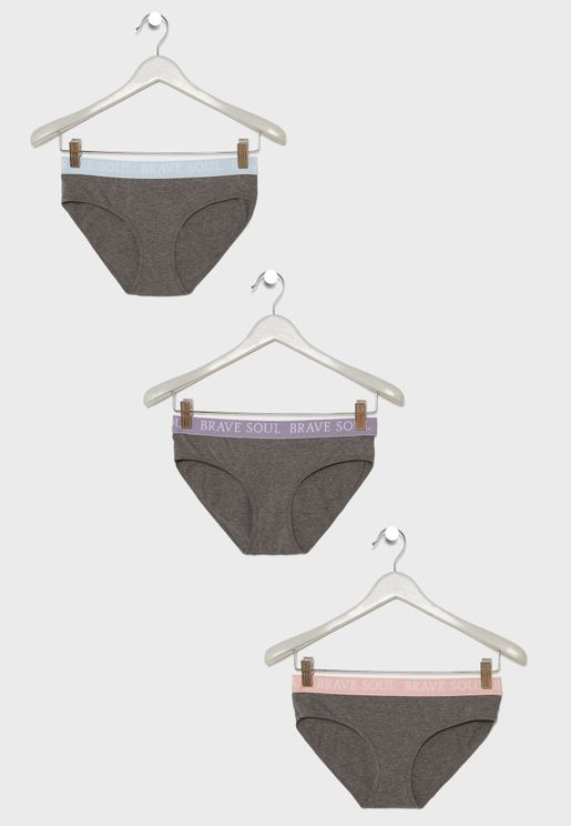 3 Pack Slogan Waist Knickers
