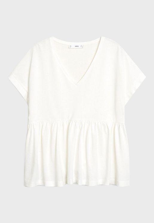 V-Neck Peplum T-Shirt