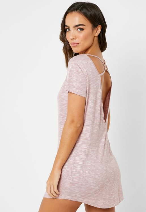 Open Back T-Shirt Nightdress