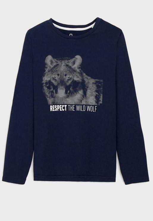 Kids Wolf Motif T-Shirt