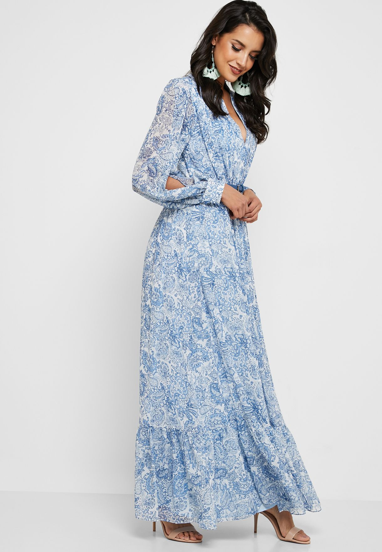 Split Sleeve Printed Maxi Dress