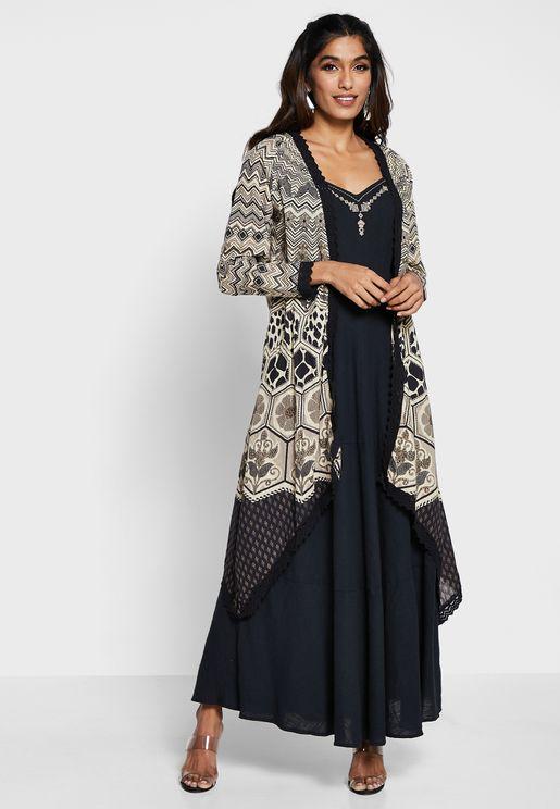 طقم (فستان بحمالات + جاكيت مطبع )