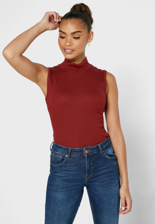 High Neck Ribbed Tank