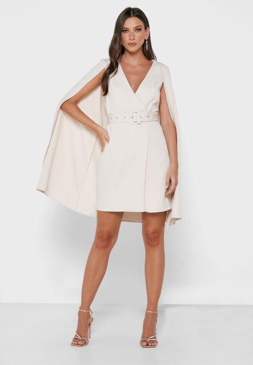 Asymmetric Sleeve Wrap Dress