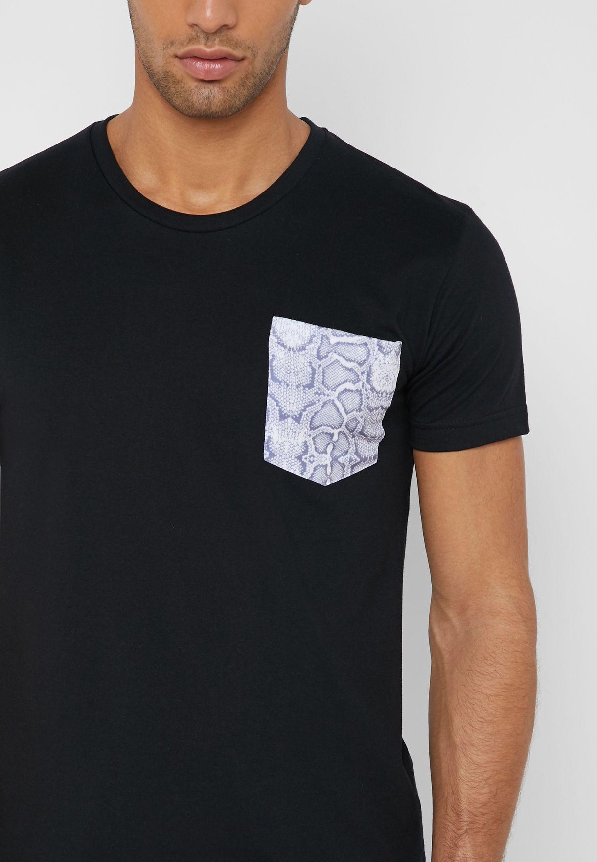Snake Skin Pocket  Crew Neck T-Shirt