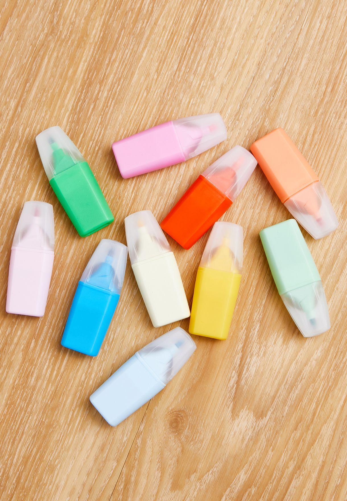 Set Of 10 Pastel Mini Markers