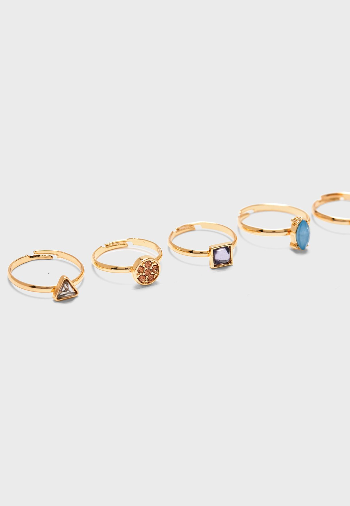 Multipack Mixed Stone Rings