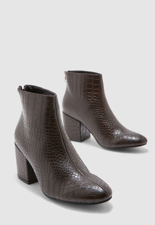 Ankle Boots In Mock Croc