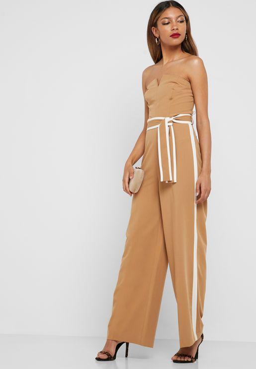 Bandeau Side Striped Belted Jumpsuit