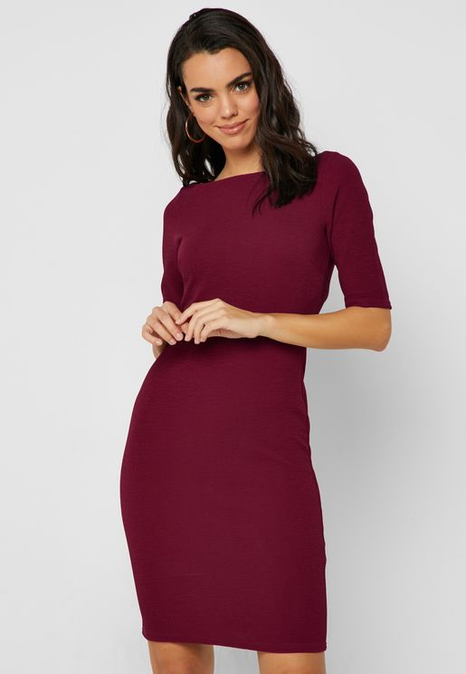 Boat Neck Bodycon Dress
