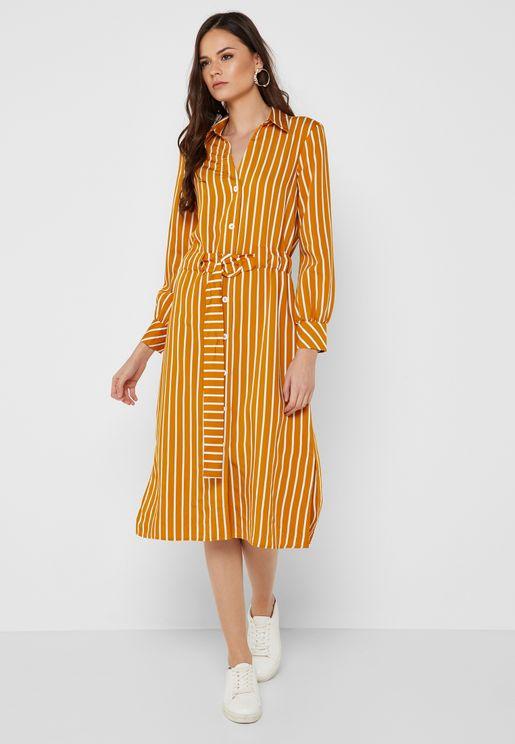 Striped Belted Shirt Dress