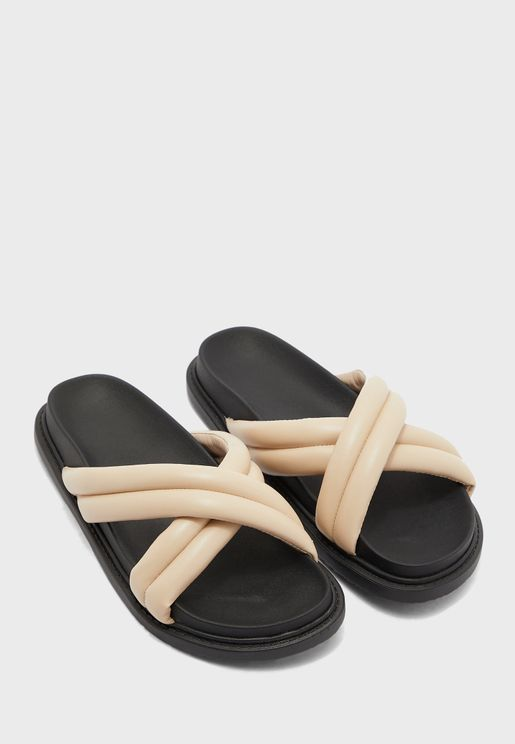 Puffy Cross Strap Footbed Sandal