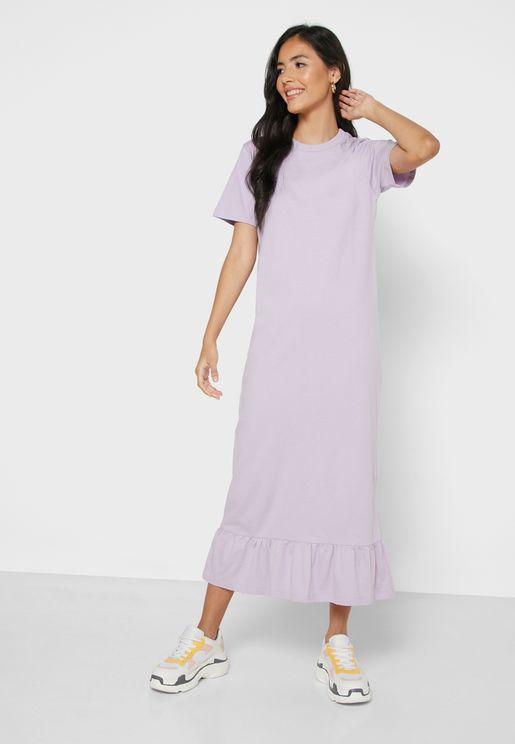 Tiered Hem Midi Dress