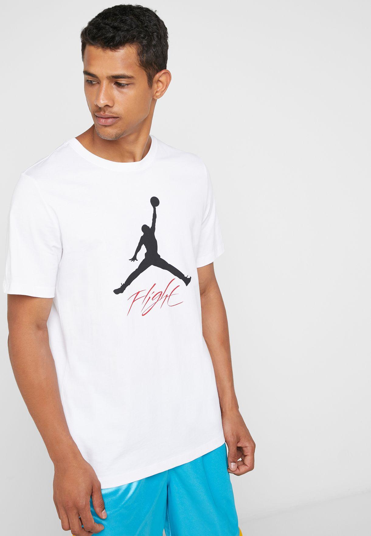 63d1cbf7 Shop Nike white Jordan Jumpman Flight T-Shirt AO0664-100 for Men in ...