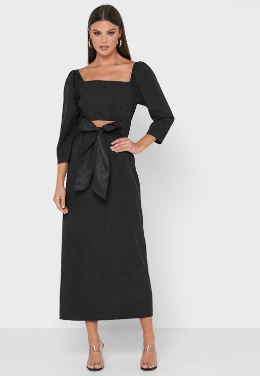 Detailed Sleeve Tie Front Midi Dress