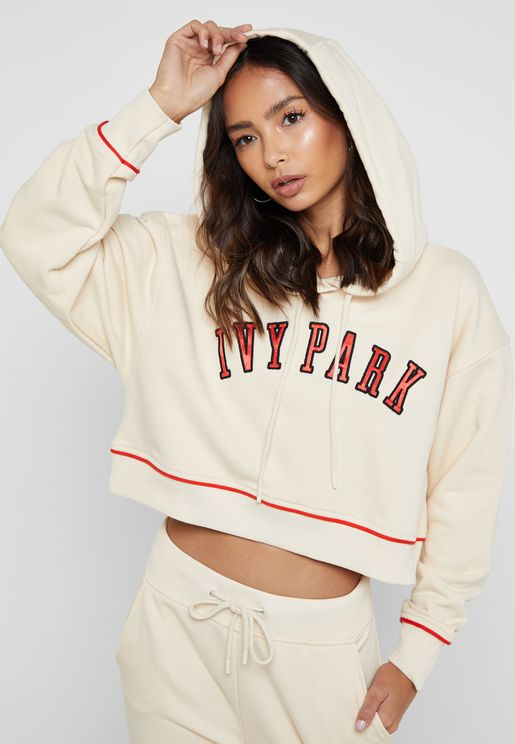 IVY PARK Silicon Logo Hoodie Hoody Jumper in Khaki Size 8 10 12 14 P149