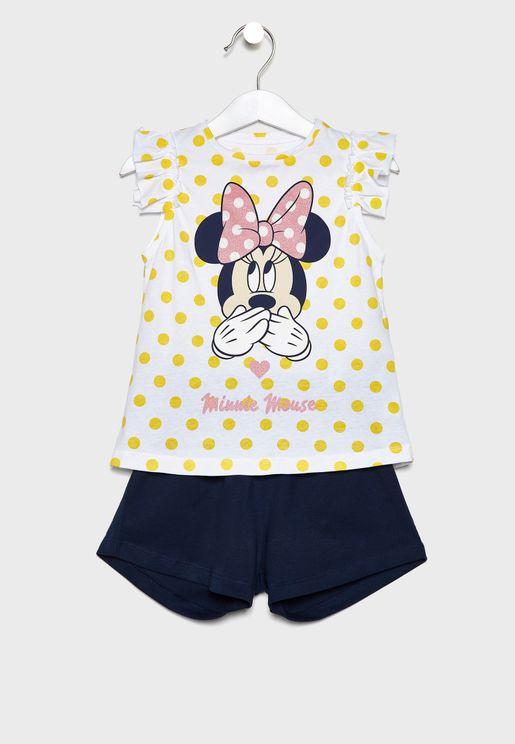 Kids Minnie Top + Shorts Pyjama Set