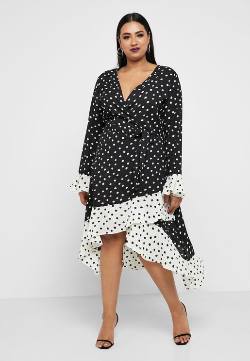 Colorblock Polka Dot Wrap Dress