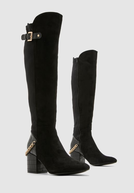 Knee High Boots With Buckle Detail