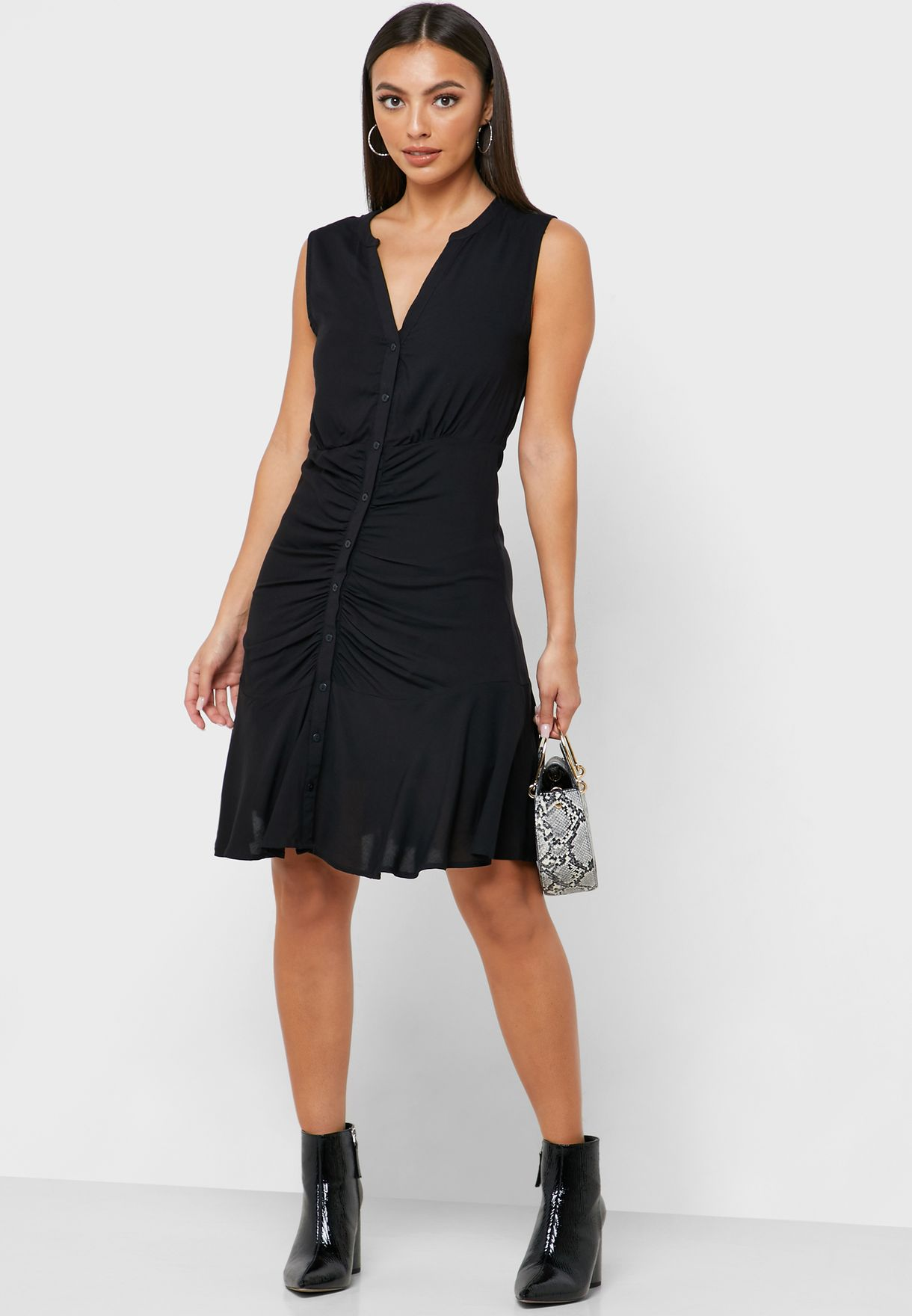 Ruched Detail Button Down Dress