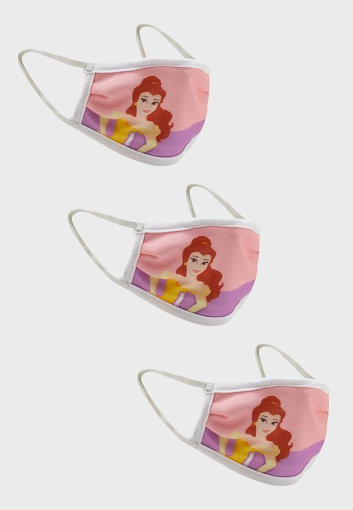 3 Pack Princess Fabric Face Cover Mask