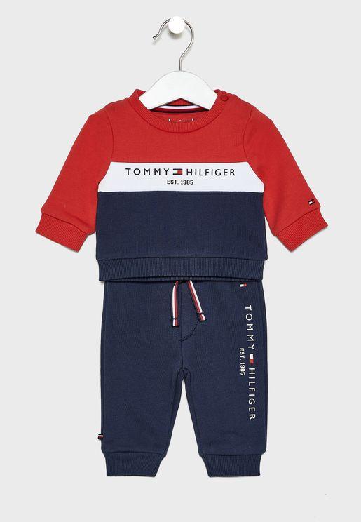 Infant Color Block Sweatshirt + Sweatpants Set
