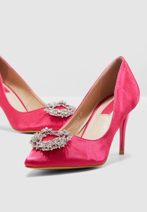 30503acf68c4 Pointed Toe Court Shoe With Embellishment