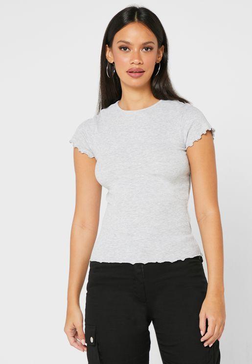 Laser Cut Sleeve Detail T-Shirt