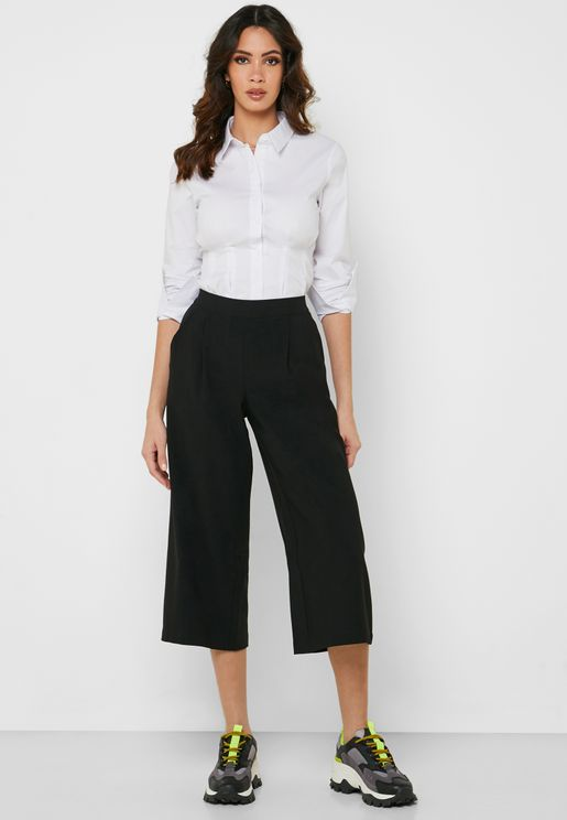 Wide Leg Culottes Pants