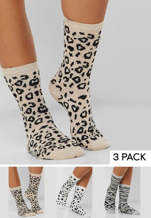 3 Pack Leopard Print Socks