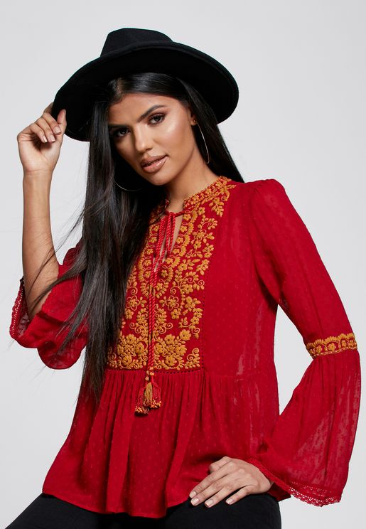 Tie Neck Flute Sleeve Embroidered Top