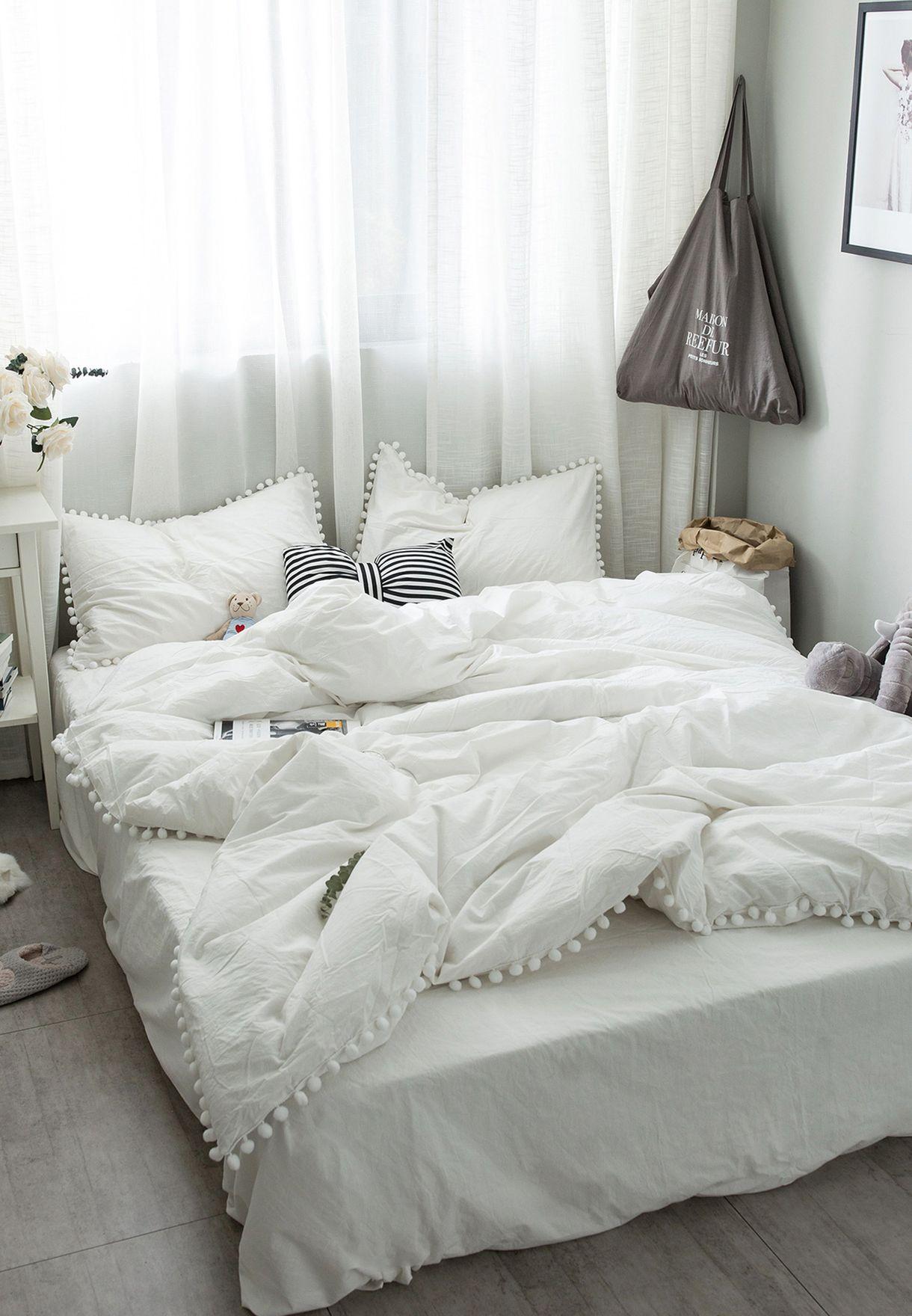 200x230cm King Size Pom Pom Detail Bed Set