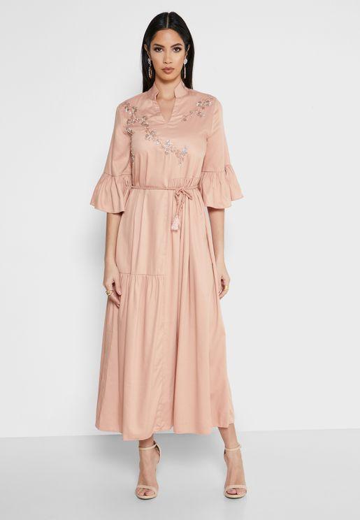 Bell Sleeve Embellished Dress
