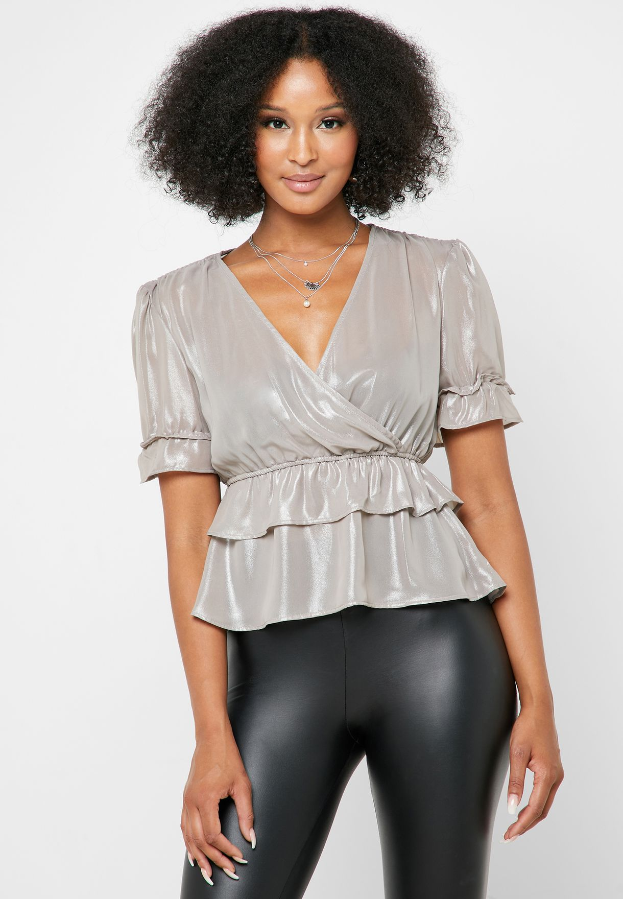 Ruffle Detail Plunge Layered Top