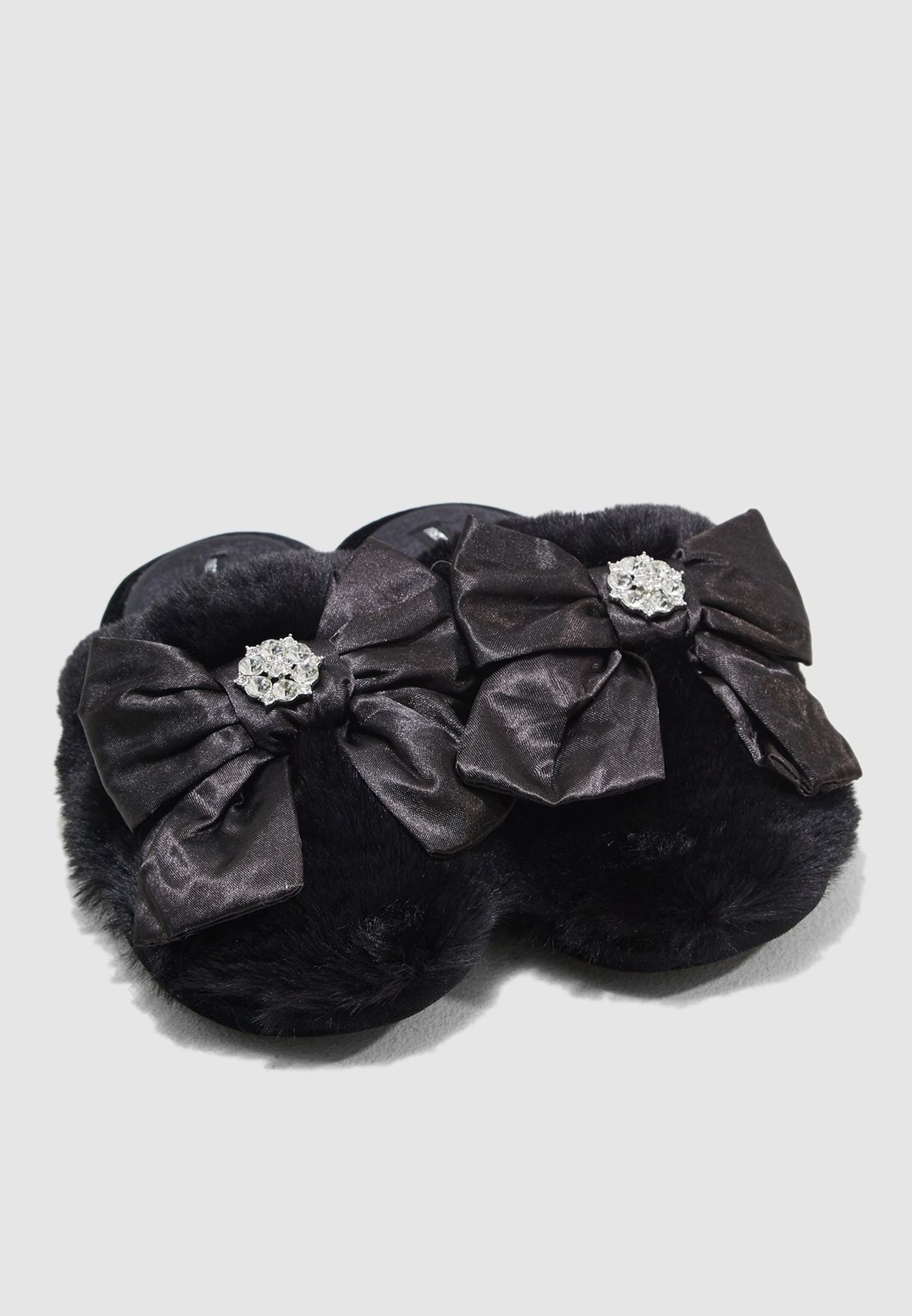 Faux Fur Mule With Velvet Bow