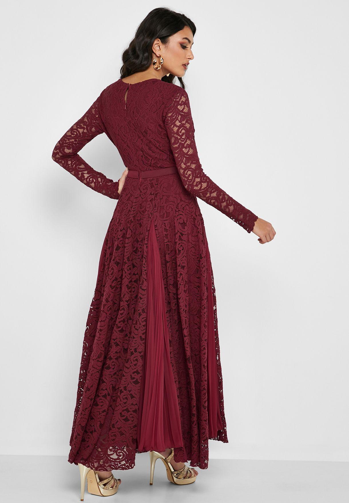 فستان مكسي دانتيل مزين بفيونكة