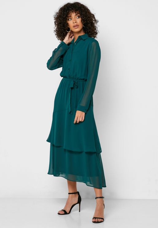 Tie Waist Tiered Hem Shirt Dress