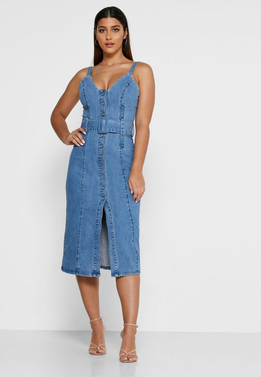 Coco Belted Denim Dress