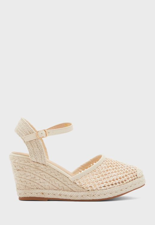 Weaved Raffia Wedge Sandal