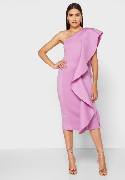 فستان مكشكش بكتف واحد