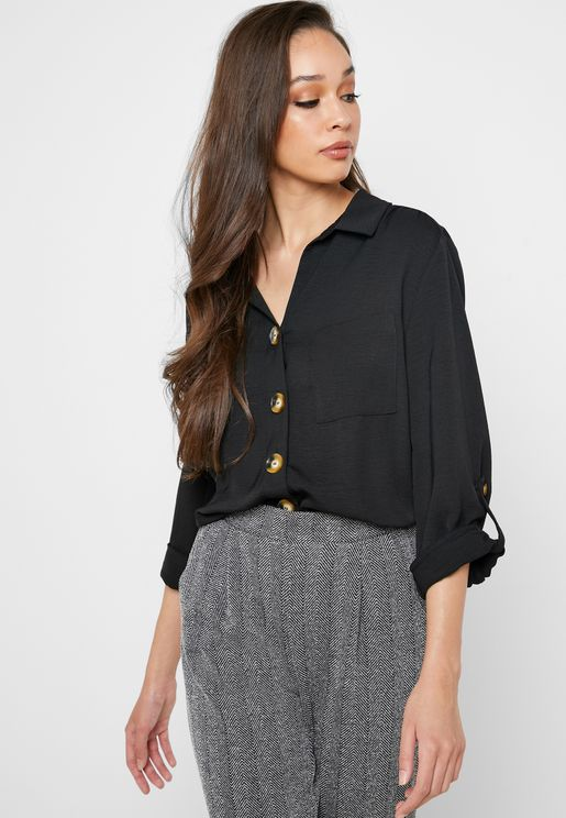 Front Knot Roll Sleeve Shirt