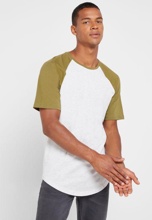 Logan Raglan Longline Crew Neck T-Shirt