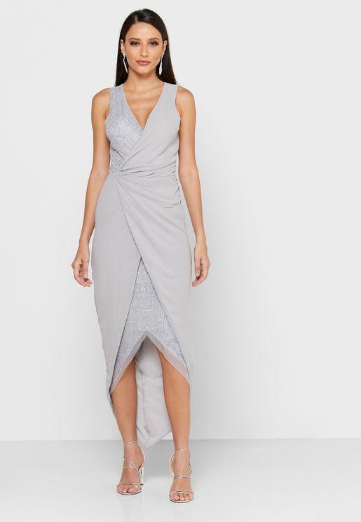 فستان بنمط لف مزين بالترتر