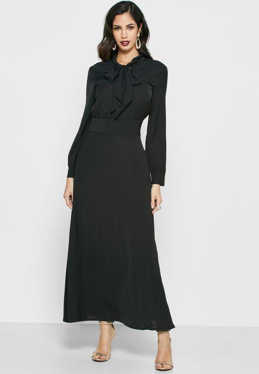 فستان ماكسي باربطة ياقة
