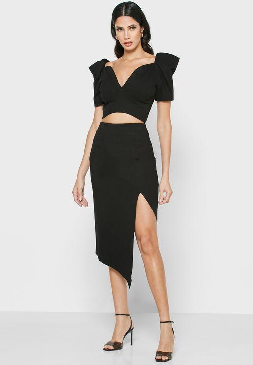 Aeriel Asymmetric Side Slit Skirt