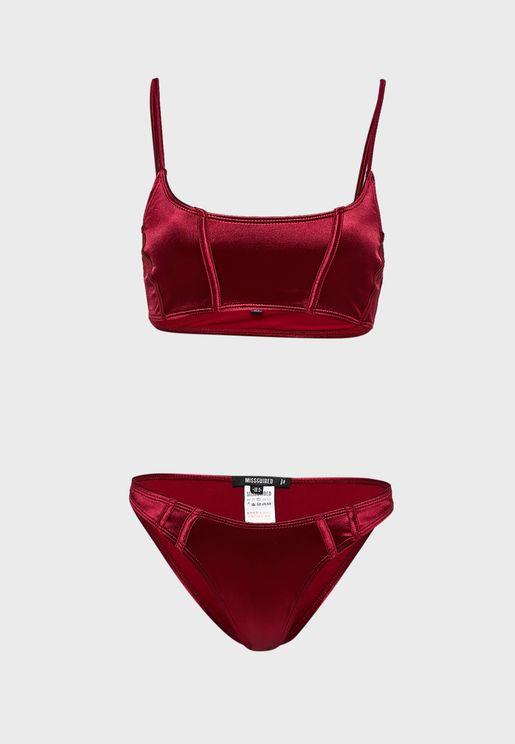 Seam Detail Cami Bikini Top and Boomerang Bottoms