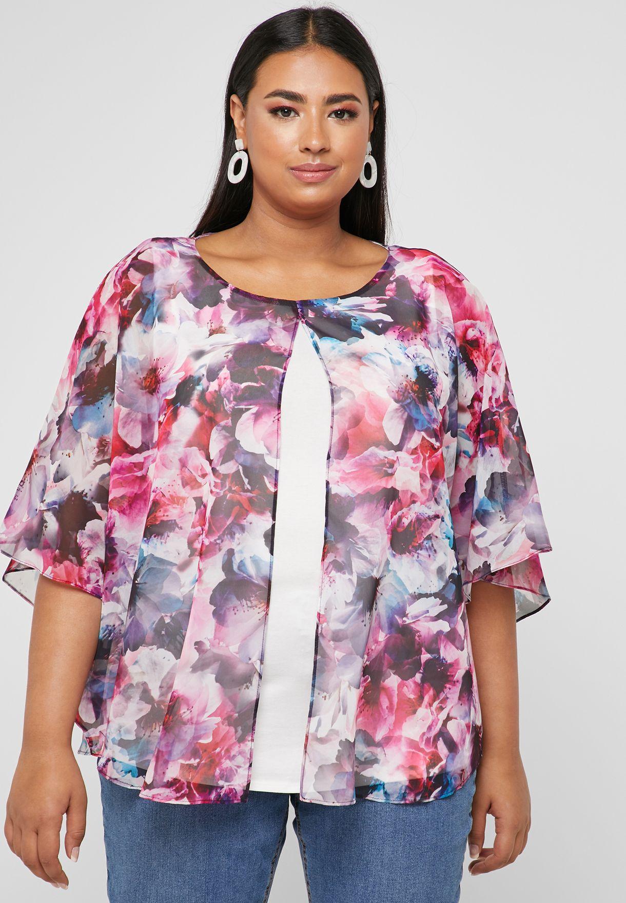 6ef6b47203 Shop Evans prints Floral Split Front Overlay Top 08A49EPLE for Women ...