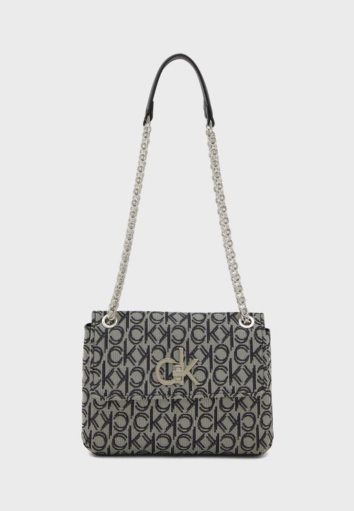 Logo Printed Chain Detail Crossbody