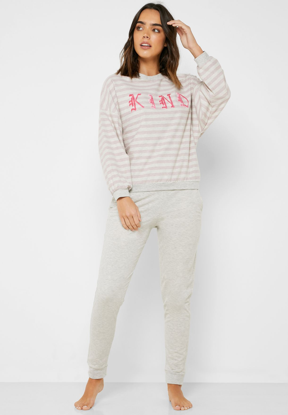 Slogan Oversize Striped T-Shirt & Cuff Pyjama Set